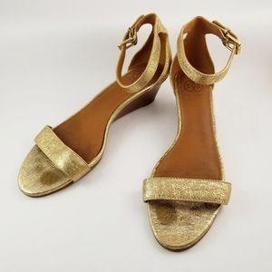 Tory Burch Savannah Metallic Gold Wedge Sandals